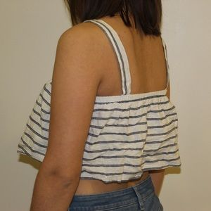 White and Navy Blue Striped Crop Top